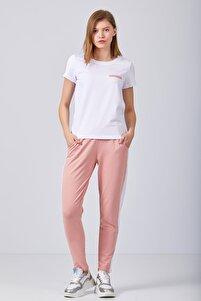 Kadın Beyaz Pembe Pijama Takım
