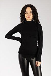 Kadın Siyah  Uzun Kollu Likralı Penye  Body