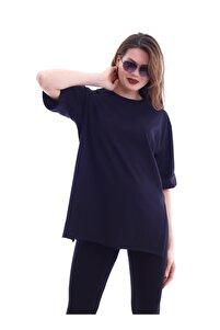 Kadın Siyah Yırtmaçlı Duble Kol T-Shirt