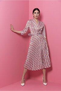 Kruvaze Yakalı Truvakar Kol Çok Renkli Kloş Elbise