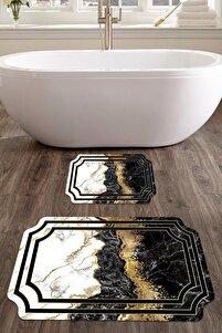 60x90 - 50x60 Prestij Dijital Banyo Halısı Lazer Kesim Klozet Takımı 2'li Paspas Seti