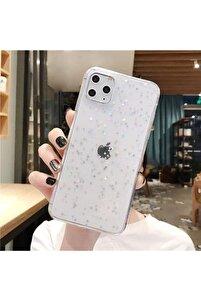 Apple Iphone 12(6.1) -12 Pro(6.1) Şeffaf Simli Yıldızlı Telefon Kılıfı