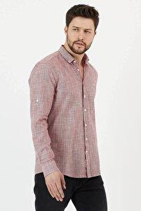 %100 Pamuk Slim Fit Uzun Kol Keten Gömlek