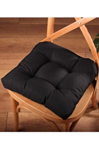 Lüx Pofidik Siyah Sandalye Minderi Özel Dikişli Bağcıklı 40x40cm