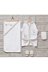 Balonlu Ayıcık Erkek Bebek Bornoz Seti - Beyaz