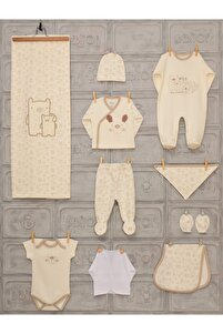 Erkek Bebek 0-3 Ay Anne Ayıcık 10 Lu Hastane Çıkışı Tulumlu Model