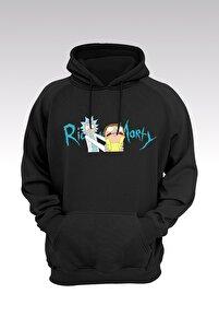 Unisex Siyah Rick And Morty 01 Kapüşonlu Sweatshirt