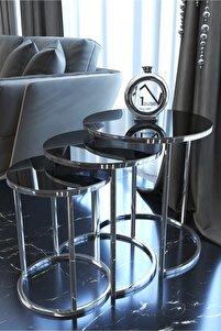 Aynalı Gümüş Metal Zigon Sehpa