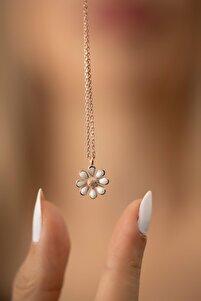 Papatya Model Rodyum Kaplama Gümüş Italyan Muhteşem Kolye