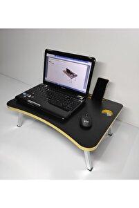 Yatak Koltuk Üstü Çalışma Masası - Laptop Sehpası Siyah - Altın Pvc Yonga Levha