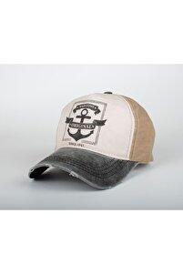 Unısex  Denizci Çapa Eskitme Baskılı Gri Şapka