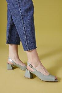 , Kadın Topuklu Sandalet 111415 Z569019 Su Yesili