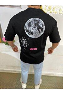 Siyah Moon Baskı Oversize Tshirt Yeni Sezon