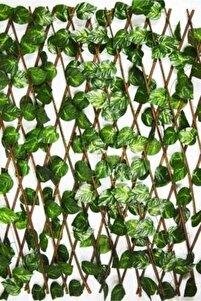 Yapay Sarmalıklı Çit, Açılır Kapanır Ahşap Çit, Dekoratif Bahçe Çiti 120 Cm X 2,50mt'e Uzatılabilir