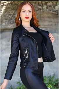 Kadın Siyah Belden Oturtmalı Eteği Çft Pat Detaylı Suni Deri Basic Ceket