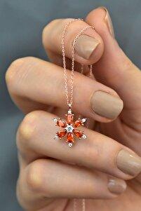 925 Ayar Gümüş Turuncu Taşlı Kamelya Çiçeği Kadın Kolye