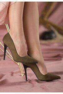Reme Haki Yeşil Süet Stiletto Ayakkabı