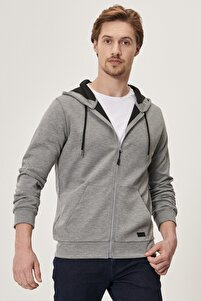 Erkek Gri Standart Fit Rahat Fermuarlı Kapüşonlu Spor Sweatshirt
