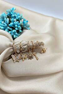 Ithal Vip Collectıon Kelebek Figürlü 6'lı Set Küpe Rose Gold Renk