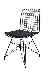 Dekor Siyah Tel Metal Sandalye