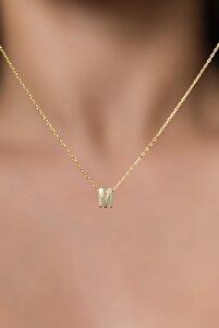 Kadın Üç Boyutlu M Harf Altın Kaplama 925 Ayar Gümüş Kolye