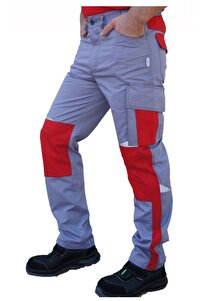 Erkek Kırmızı Harman Karışımı Roma Model İş Pantolonu