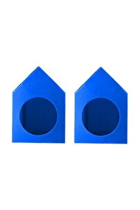 Su Geçirmez Mavi Renk  Demonte Plastik Kedi Evi - 2 Adet