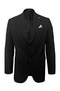 Rahat Kalıp Desenli Siyah Ceket