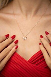 Kadın Kelebek Model Rose Kaplama Zirkon Taşlı Gümüş Kolye İZLASLVR00464