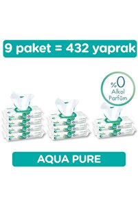 Islak Havluaqua Pure 9'lu Fırsat Paketi 432 Yaprak