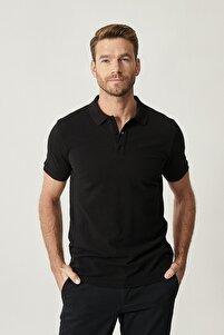 2 Al Sepette Ek %15 İndirim Siyah Polo Yaka Cepsiz Slim Fit Dar Kesim %100 Koton Düz Tişört