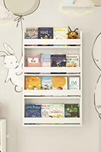 Kitaplık Çocuk Odası Mdf Ahşap Kitaplık 75x120x10 Cm
