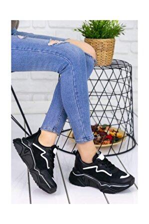 Erbilden Vira Siyah Cilt Beyaz Rugan Şeritli Spor Ayakkabı