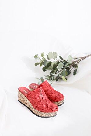 Limoya Kırmızı Kadın Sandalet
