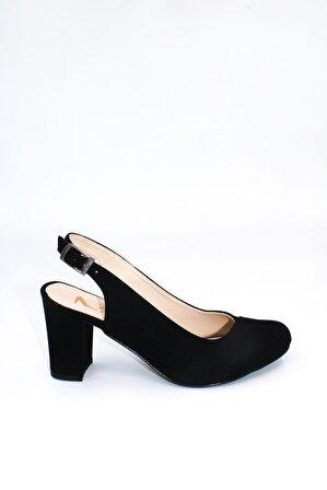 ByErz Kadın Siyah Süet Arkası Açık Topuklu Ayakkabı