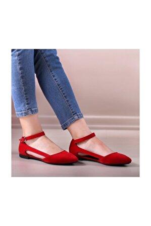 WoW Ayakkabı Kirmizisüvet Kadın Babet Ayakkabı