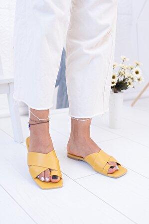Moda Değirmeni Sarı Cilt Kadın Terlik Md1006-122-0001