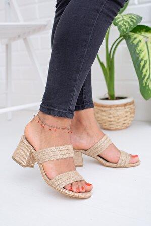 Moda Değirmeni Hasır Kadın Topuklu Terlik Md1041-122-0001