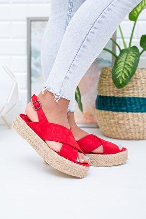 Moda Değirmeni Kırmızı Süet Kadın Sandalet Md1026-123-0001
