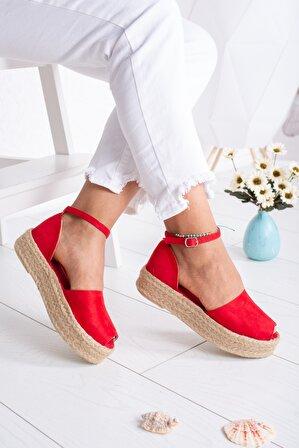 Moda Değirmeni Kırmızı Süet Kadın Sandalet Md1026-123-0002