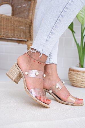 Moda Değirmeni Hasır Şeffaf Boncuklu Kadın Topuklu Terlik Md1041-122-0001