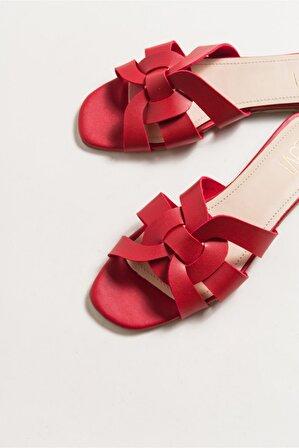 LuviShoes Kadın Kırmızı Cilt Terlik 709