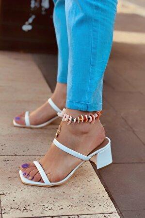 LAMİNTA Viola Beyaz Rugan Kadın Topuklu Terlik