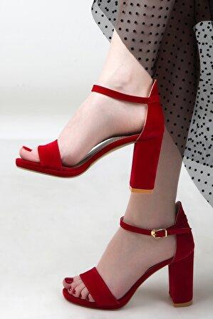 Suuet Kadın Süet Topuklu Sandalet Kırmızı
