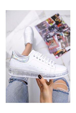 Erbilden Lumi Beyaz Cilt Rugan Detaylı Spor Ayakkabı