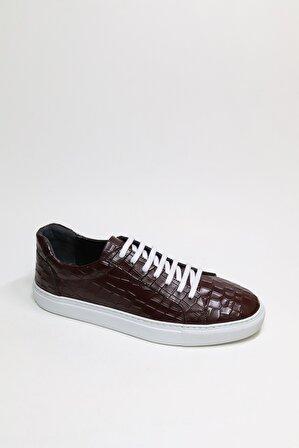 Tıssino Marsılo Sneaker Bordo Hakıkı Derı