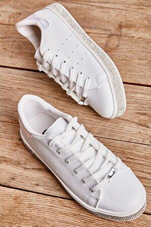 Bambi Beyaz Mavi Kadın Sneaker