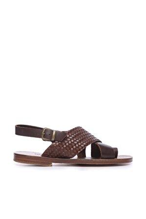 KEMAL TANCA Hakiki Deri Kahverengi Erkek Sandalet Sandalet