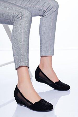 Ayakkabı Frekansı Kadın Siyah Süet Leon Babet Ayakkabı