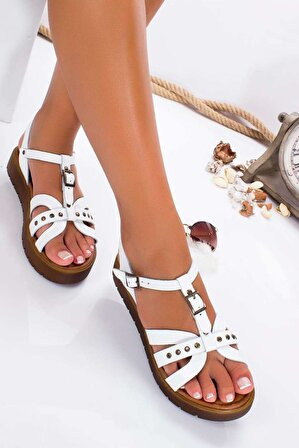 Ayakkabı Frekansı Beyaz Anita ki Sandalet